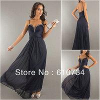 Free Shipping New Arrive !! PS03 Cheap Chiffon Crystal Beaded Sweethear Neck Spaghetti Strap Navy Blue Prom Dress 2013