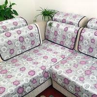 Small rose purple sofa cushion solid wood fabric sofa set cover chenille sofa cloth piaochuang pad