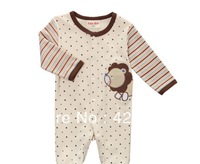 Free Shipping NEW 2013 Autumn Winter Long Sleeved Baby Romper 100%Cotton Bodysuit Cartoon Lion Baby Clothes 9M-24M Free shipping