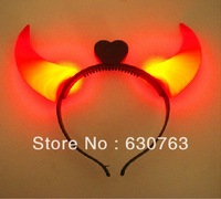 New LED Flashing Head Band Hairband Light Up OX HORN Glowing Party Accessory Halloween Frees shipping By CPAM