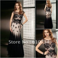 ML0112 Sexy Black Lace Champagne Mother Of The Bride Lace Dresses