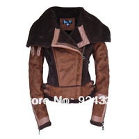 2013 new autumn winter fur leather clothing female fashion women's outerwear casual dress