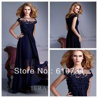 E0810 Cheap High Neck Cap Sleeve A-line Bule 2013 Long Chiffon Summer New Model Evening Dress