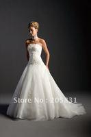 2014 Promotion Lace Up Flowers Sleeveless A-line Vestido De Noiva Vestido New! Hot Strapless Applique Wedding Dress Ol002901