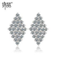 (Minimum order $ 10) 2014 new Star AAA zircon earrings Zircon earrings earring 18K White Gold Plating copper