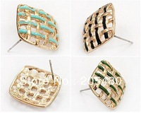 new fashion hollow out sweet square multicolor earrings for woman korea style ,