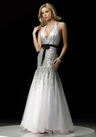 ED247 Discount white organza and black beads halter mermaid party dress