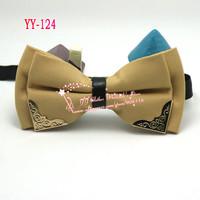 Khaki,Double Layer,Mens Wedding Adjustable Pre-tied Mental Pu Bantique Groom Neck Bowties tie Men's Cheap Bow Ties For Men,YY18