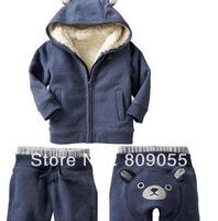 Winter Children's clothing baby lovely bear sets children kids berber Fleece 2pcs sets thick suit Christmas Jacket