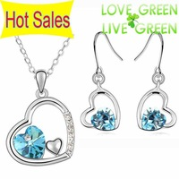 2013 Free Shipping Hotselling fashion jewelry sets 18K gold plated  Austrian Crystal Heart pendant brand Necklace Earrings 83004