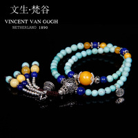 Vg handmade accessories natural turquoise beeswax gold beads bracelets bracelet