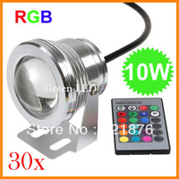 30pcs/lot 10W 12V RGB Led underwater Light Waterproof IP68  fountain pool Lamp 16 colors changing led Garden light  Free express
