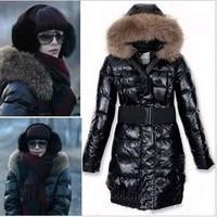 Large fur collar , fur collar down coat medium-long female
