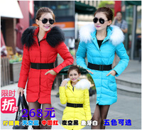 2013 winter female medium-long down coat women's beach wool fur collar