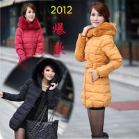 2012 winter women's rabbit fur slim medium-long down coat