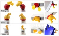 8pcs/lot 2013 Newest cute cartoon mickey stitch buttock dust plug earphone  jack Plug for  iPhone/Samsung,freeshipping