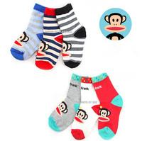 5pairs/Lot High Quality Cotton Baby Socks Cartoon Monkey Wild Children Socks Wholesale 14-18CM CL0411