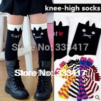 Girl's Kitten In Tube Socks/Kids Cat High Leg Warmers/Children's Heap Heap Socks/Baby Knee-high Socks[700042]