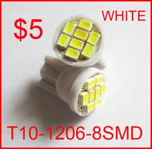 20pcs/lot white T10 8smd 8 smd 8led 8 led 194 168 192 W5W 1206 super bright Auto led car led light/t10 wedge led auto lamp(China (Mainland))