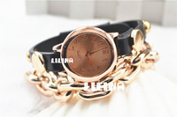 New arrival gold plated, Chain / leather  punk style woman fashion watches Global Free shipping