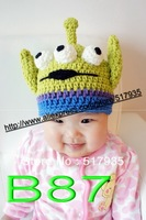 free shipping, 20pcs/lot New Cute Cartoon 3 eyes monster Style Baby Children Crochet Knit Earflap Cap Warm Ear Hat
