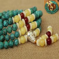 Tibetan natural turquoise beeswax 108 fozhu bracelets pure silver bone 6mm bracelet rosary