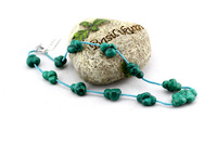 Natural raw ore turquoise diy handmade knitted women's necklace