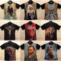 free shipping men's 3d T-Shirt male short-sleeve o-neck Cotton animal t shirt M/L/XL/XXL