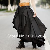 S0077 Black color 2014 New Women's Custom Made warm wool irregular Long skirt