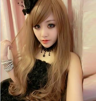 Peruca meninas fofo longos cabelos crespos peruca moda feminina maçante fio tinta de alta temperatura do(China (Mainland))