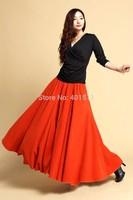 S0071 Free shipping 2014 new women's Bright orange color warm  Custom made woolen long maxi skirt wool skirt