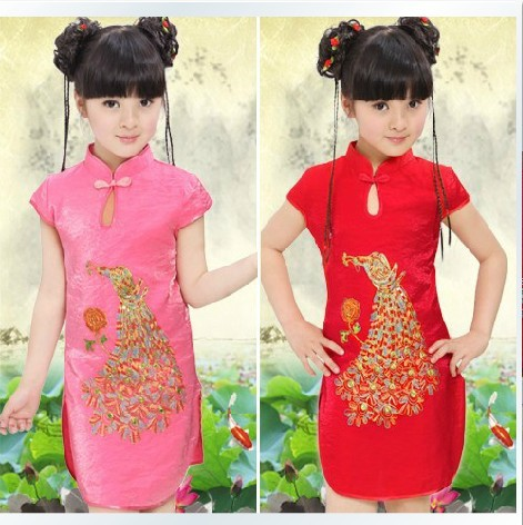 New fashion high quality girls dress chines peacock embroidery children cheongsam fashion kids cheongsam dress(China (Mainland))