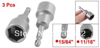 "3 Pcs 1/4"" Shank 19mm Hex Socket Spanner Nut Setter Driver Bit Power Tool Gray"