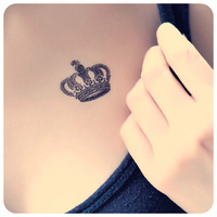 Tattoo stickers waterproof fashion black crown queen tattoo 3