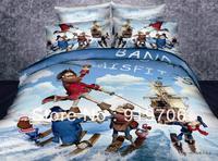 Hot New Beautiful 100% Cotton 4pc Doona Duvet QUILT Cover Set bedding sets Full Queen King size 4pcs cartoon Pirates Caribbean
