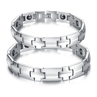 His and Her Health Jewelry Bangle  Healing Indian titanium Magnetic 316L Stainless Steel Bracelet For couple love