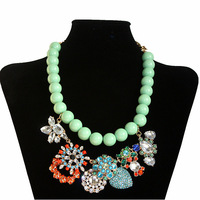 New Arrival 2013 Free Shipping fashion BEADS choker necklace crystal colorful floral rhinestone chunky statement Necklace women