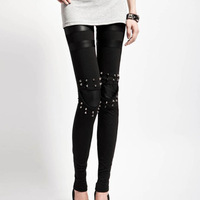 New Retro Fashion Rock Punk Style Rivets Cotton Patchwork Faux Leather Women Leggings WF-52259