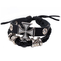New 2013 Fashion Bracelets & Bangles rock  CrossBracelet pulseiras Leather Bead Bracelet Punk Designer Women Men Jewelry bijoux