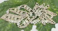 1Pc Clear Crystal Rhinestone Gold Applique Motif Bridal Costume Ornaments