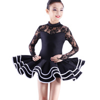 Child Latin dance set Latin dance skirt fy1014e performance wear black white