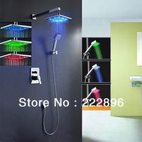 chuveiros chuveiro led ducha torneira LED Chrome Bathroom Shower Faucet LED Lighting Shower Set Faucet Tap banheiro