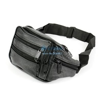 Soft Vintage Leather Men Waist Sports Bags Outdoor Travel Belt Wallets Black 12847