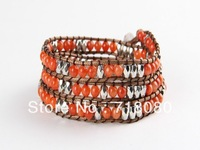 6mm red coral bead wrap bracelet new design handmade wrap leather bracelet