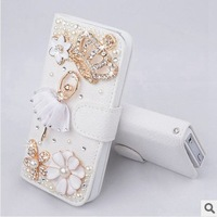 Free Shipping,new arrival  bling diamond rhinestone crown protective shell leather mobile phone bag case for iPhone 4 4s case