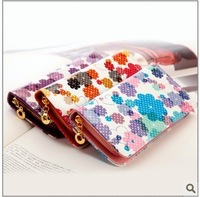 2013 new patent leather wallet hit multi-colored flowers purse wallet card female