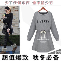 6151 autumn and winter fashion casual drawstring letter sweatshirt dress o-neck women's long-sleeve autumn one-piece dress
