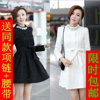 East Knitting Elegant 2013 autumn and winter women slim long-sleeve lace one-piece dress basic skirt  Free shipping