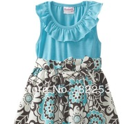 Blue vest floral skirt nannette original single girls dress