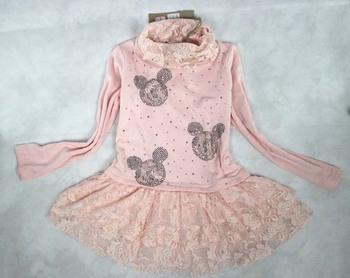 new retail cotton children cartoon summer girl lace  full sleeve princess dresses